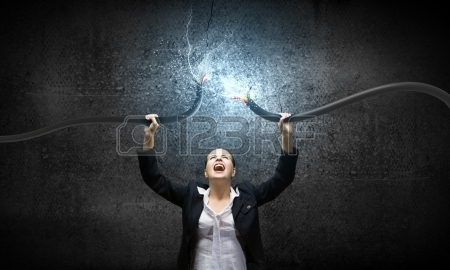 woman with computer cable